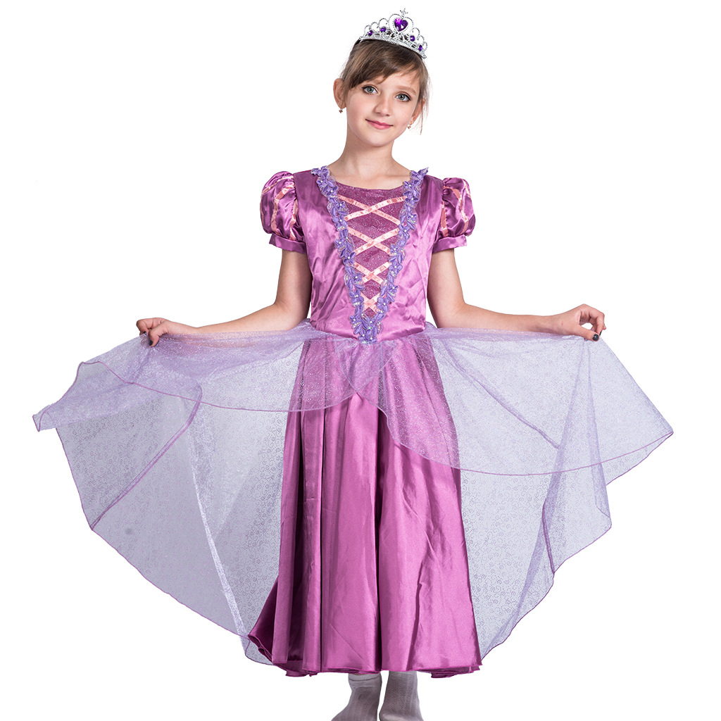Castle Princess In Purple Kids Girls Fairytale Princess Fancy Dress Tangled Rapunzel Outfit Halloween Costume