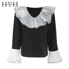 HYH HAOYIHUI Elegant Lady Sweet Contrast Top Mesh Double Ruffle V-Leader Seven-Sleeve Sweatshirt embroidered mesh ruffle bardot top