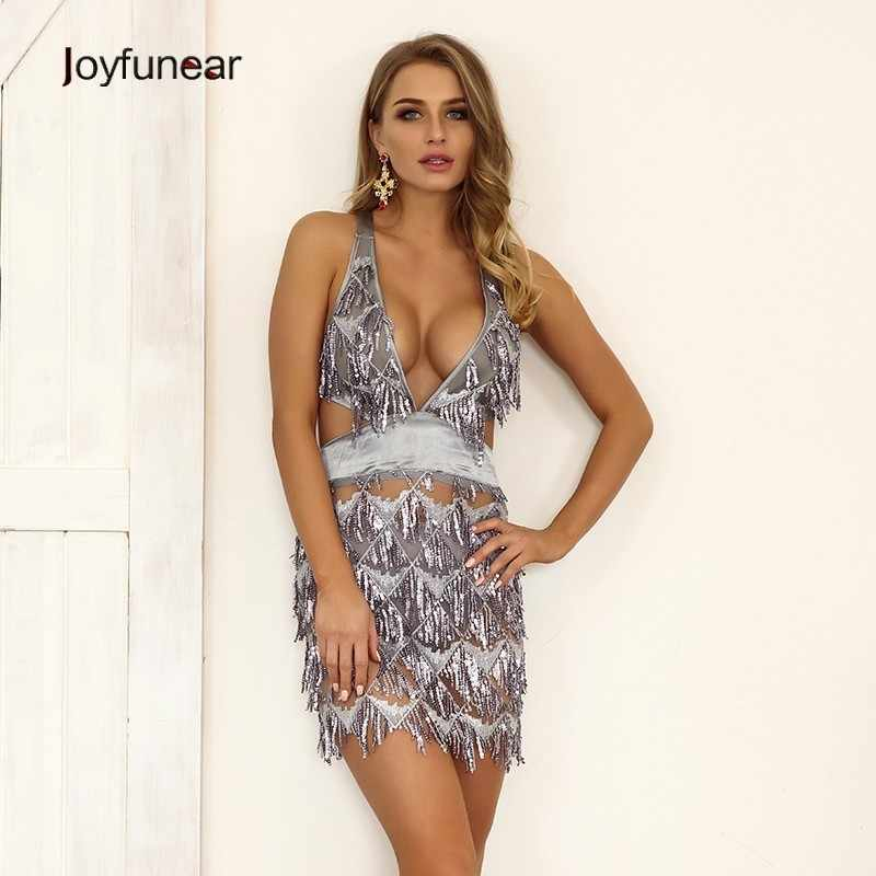6542e2b8afe4 Detail Feedback Questions about Joyfunear Sequined Crisscross Back Lace Up  Cami Dresses Women Plunging Neck Short Dress Party Clubwear Bodycon Chic  Sexy ...