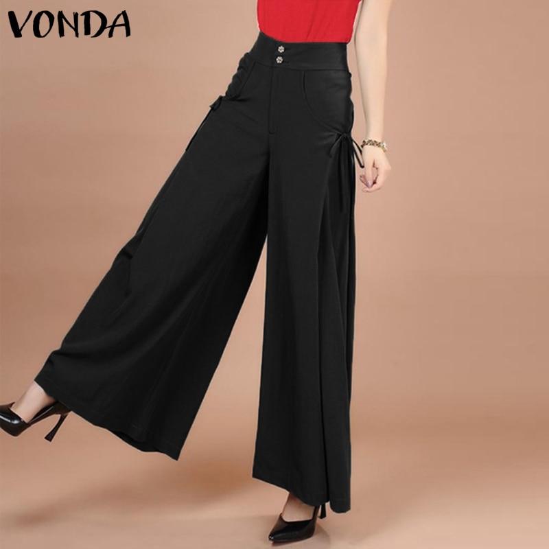 VONDA Fashion Office Ladies   Pants   Women Casual Loose Elastic Waist Trousers 2019 Spring   Wide     Leg     Pants   Female Bottoms Plus Size