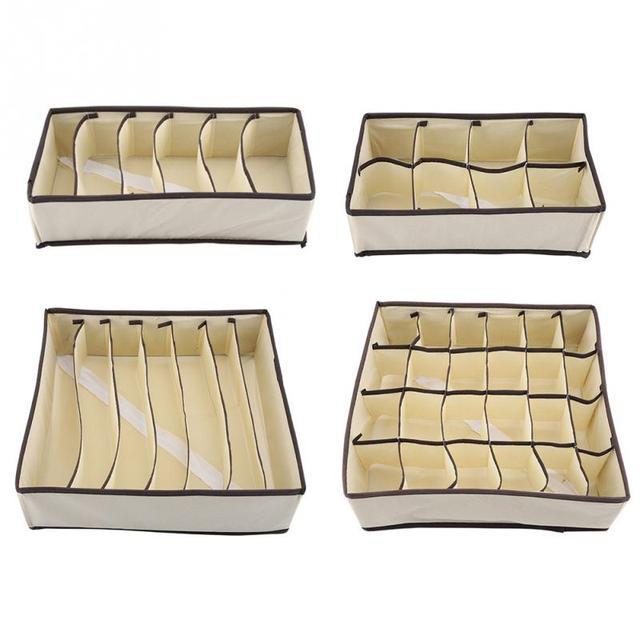 New Style Foldable Storage Box For Shoes Wardrobe Closet Organizer Sock Bra Underwear Cotton Storage Bags