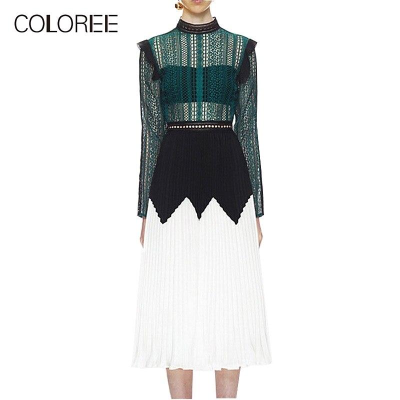 Auto Portrait robe femmes 2018 automne élégant voir si à manches longues robe en dentelle plissée vert blanc robe mi-longue Vestidos