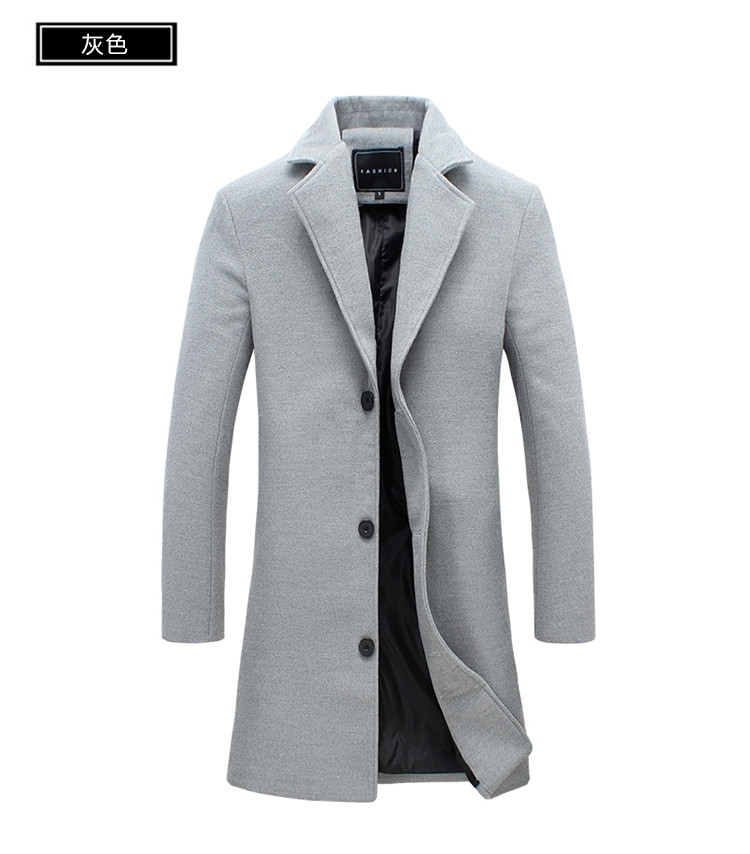Image 5 - 2018 Winter New Fashion Men Solid Color Single Breasted Long Trench Coat / Men Casual Slim Long Woolen Cloth Coat Large Size 5XL-in Trench from Men's Clothing