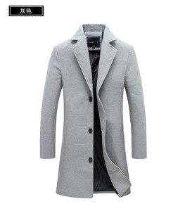 Image 5 - 2020 冬の新ファッションメンズ無地シングルブレストロングトレンチコート/男性カジュアルスリムロング毛織物のコート大サイズ 5XL