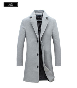 Image 5 - 2020 Winter New Fashion Men Solid Color Single Breasted Long Trench Coat / Men Casual Slim Long Woolen Cloth Coat Large Size 5XL
