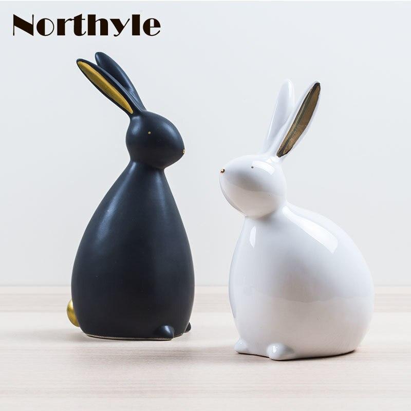 Nordic ceramic rabbit figurine porcelain animal statue for home decoration bunny wedding christmas gift