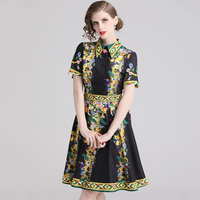 New Style 2019 Summer Luxury Runway Dress Women Short Sleeve Turn down Collar A line Floral Print Casual Dresses Party Vestidos