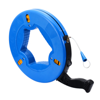 4mmx45m Blue ABS Plastic Conductive Fiberglass Fish Tape Reel Puller Conduit Ducting Rodder Pulling Wire Cable
