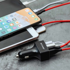 Image 5 - BlitzWolf USB לרכב מטען 4 יציאות USB 50W QC3.0 מהיר טעינה עבור טלפון נייד TDC 12V 24V עבור iPhone X XR Xs לxiaomi Mi8