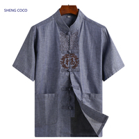Sheng Coco Traditional Chinese Mens Shirt Linen Shirts Chinese Style Men's Short Sleeve Chinese Traditional Elderly Clothes 4XL