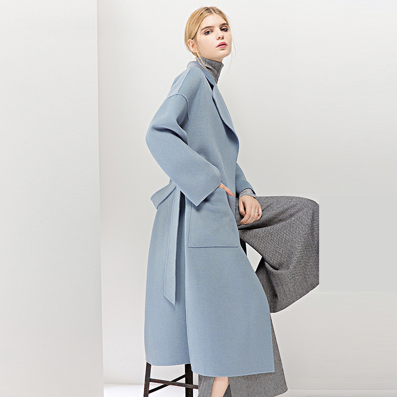 Yoyocathy Blue Double Facet Woolen Girls's Coats Winter 2018 Lengthy Jacket Unfastened Elegant Outerwear Feminine 100% Wool Coat Overcoat
