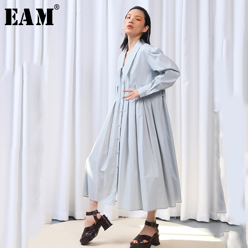 EAM 2019 New Spring Summer Lapel Long Sleeve Pleated Split Joint Loose Big Size Temperament