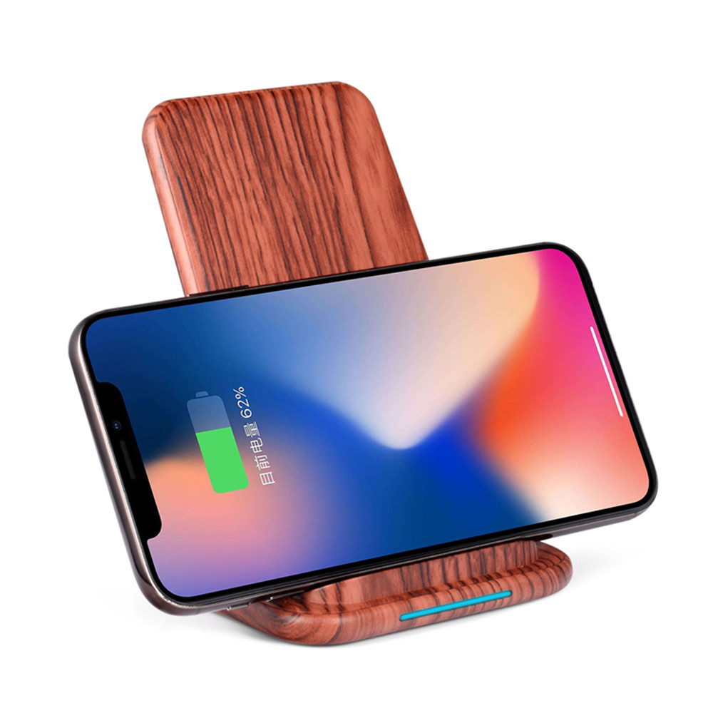 Image 2 - Qi Fast Wireless Charger for Huawei P20 P30 Xiaomi 9 WoodGrain Quick charging Vertical Phone Stand for iPhone X XS MAX XR 8 Plus-in Mobile Phone Chargers from Cellphones & Telecommunications