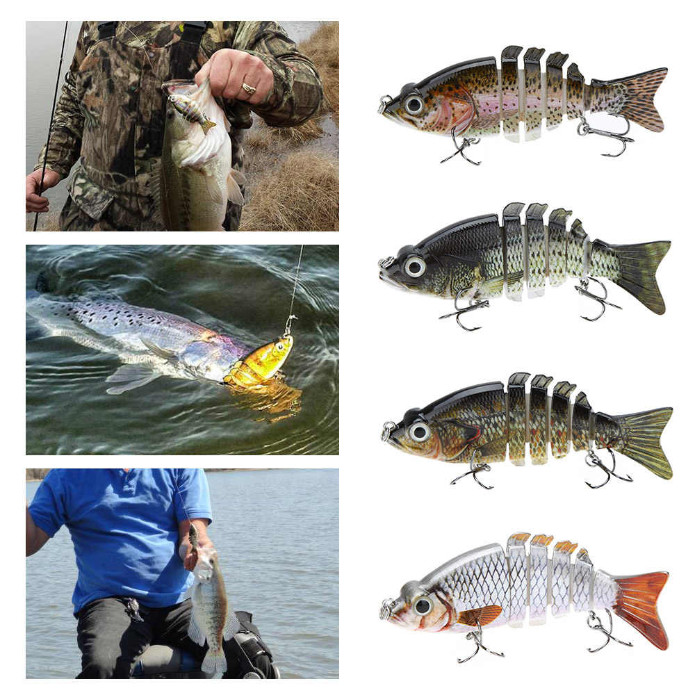 """Đa Jointed Cá Thu Hút 10 cm/4 """"21 gam Pesca Câu Cá Cứng Lure Bait Swimbait Cuộc Sống giống như với Treble Hooks cho Cá Mồi Dẫn"""