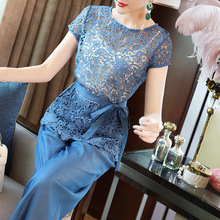 2019 spring and summer lace short-sleeved shirt Tencel slim wide-legged pants two-piece womens set T6193