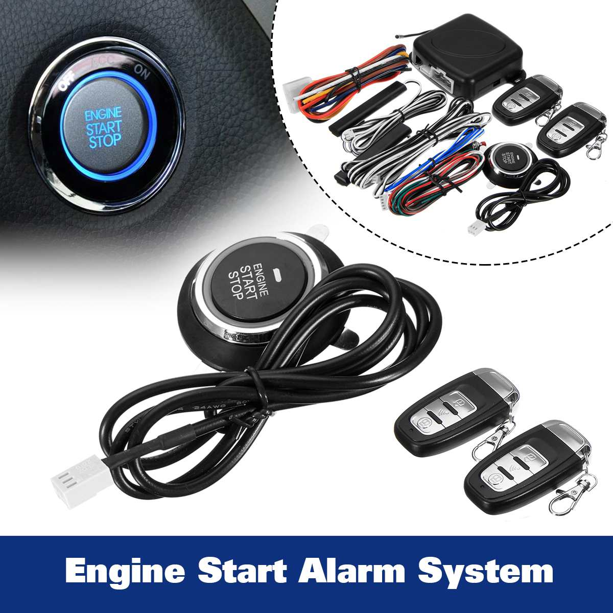 9 pièces Smart Auto alarme de voiture de Démarrage Du Moteur bouton-poussoir Start Stop D'entrée Sans Clé de Sécurité interrupteur de contact Système-Poussoir de Démarrage Date