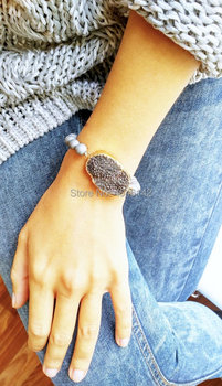 Boho Chic Stone Druzy Drusy Connector Silver Druzy Agates Stretch Bracelet