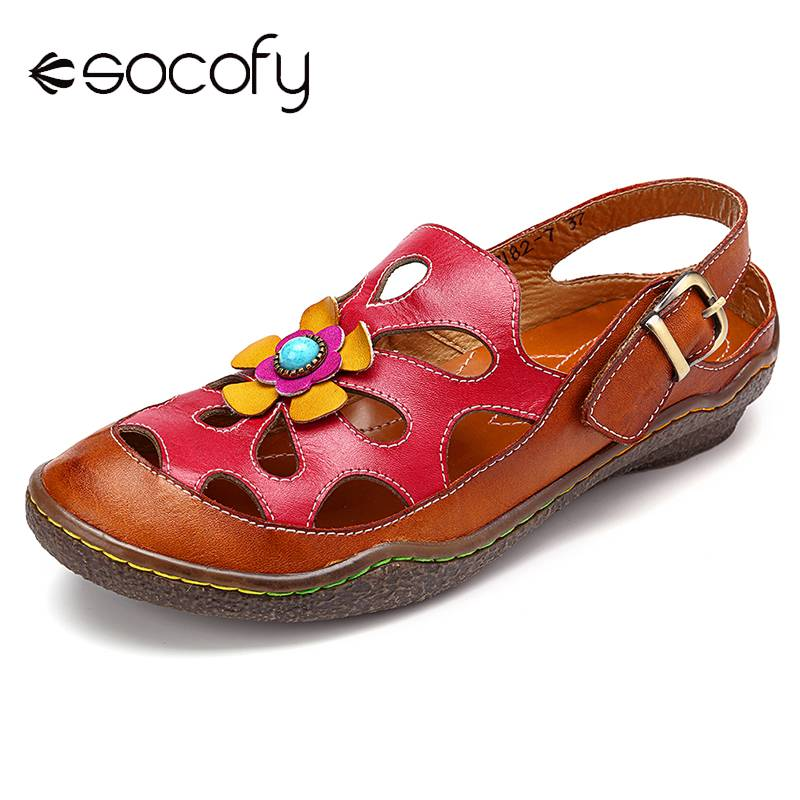 SOCOFY Floral Hollow Out Hook Loop Casual Comfy Leather Sandals Comfortable Sandals Summer Shoes Printed Leather Shoes New