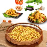 Round Copper Air Fry Crisper Tray Air Fryer With Ceramic Non stick Coating For Household Kitchen / Dining Room