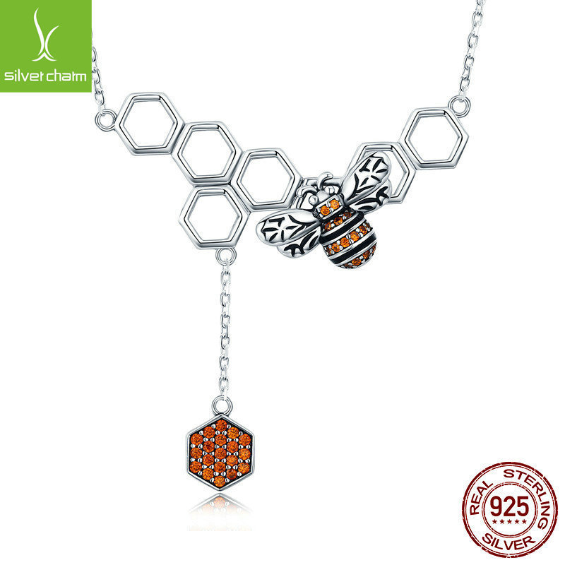 New Arrival 925 Sterling Silver Insect Bee Honeycomb Dangle Pendant Necklace For Women Sterling Silver JewelryNew Arrival 925 Sterling Silver Insect Bee Honeycomb Dangle Pendant Necklace For Women Sterling Silver Jewelry