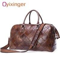 Men's Bags Real Cow Leather Luggage Weekend Bag Men Travel Duffel Handbag Women Bags Malas Mala Bolsa De Viagem Packing Cubes