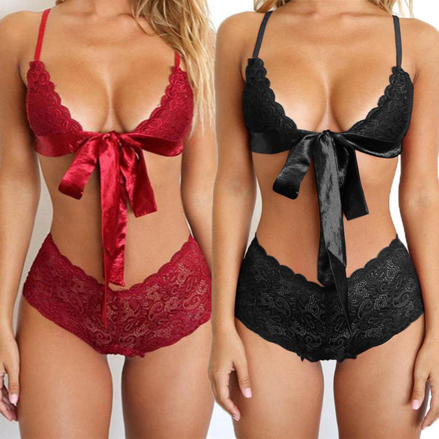 a1157f540cf57 Sexy Women Ladies Brief Set Fashion Lingerie Lace Bra G-string Thong Set  Babydoll Sleepwear Underwear Nightwear Women s Bra Sets