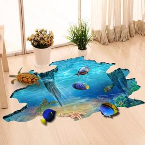 3D Galaxy Underwater World Wall Stickers for Ceiling Roof Window Sticker Mural Decoration Personality Waterproof Floor Sticker