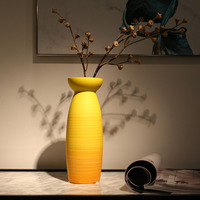 Yellow Ceramic Vase Home Office Decorative Vase for Dried flowers Rose Living Room Bedroom Table Centerpiece Flower Vase