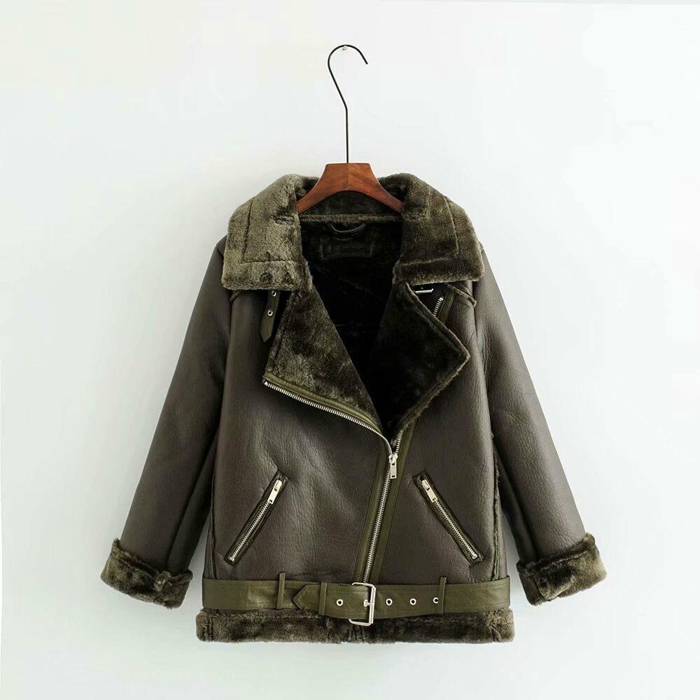 Women Moto Biker   Leather   Jacket Casual Long Sleeve Fake Lamb Wool winter Jaqueta Feminina Ladies Loose Black Coat Punk Q025