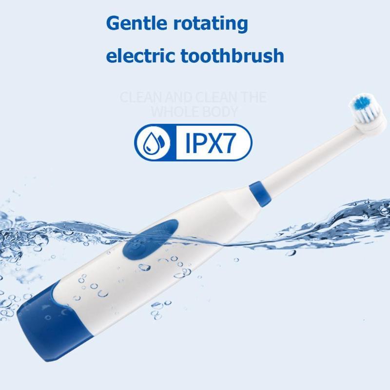 Купить с кэшбэком Automatic Toothbrush IPX7 Waterproof  Ultrasonic Rotary Tooth Brush with 2 Brush Heads Adult Toothbrush