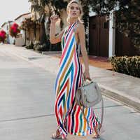 Sommer Neue Sexy Frauen Kleid Gestreiften Verkauf Plus Größe Kleider Casual Halter Chiffon Kleid Strand Sommer Elegante Lange Kleider Frauen