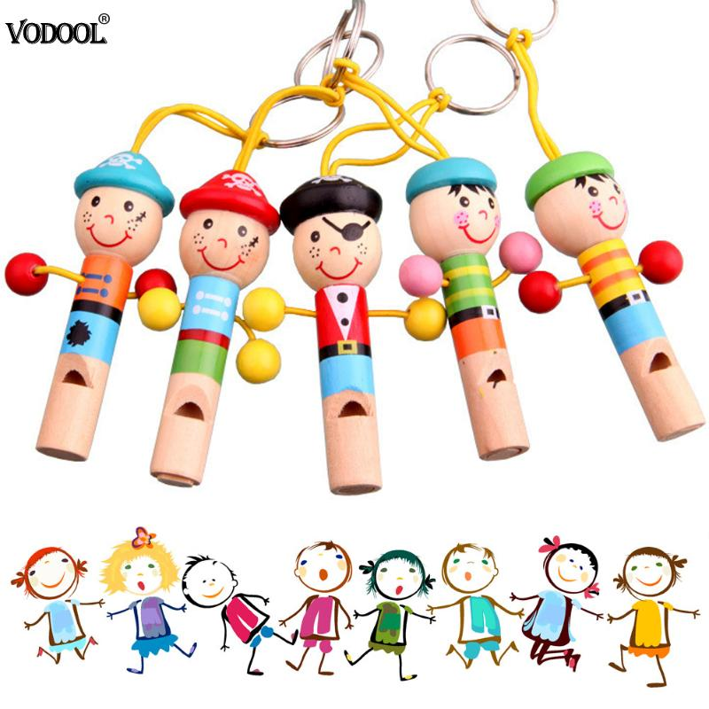 Baby Kids Wooden Toy Mini Whistle Pirates Developmental Toy Musical Toys Colorful Keychain Lovely Instrument Toys Musical Gift
