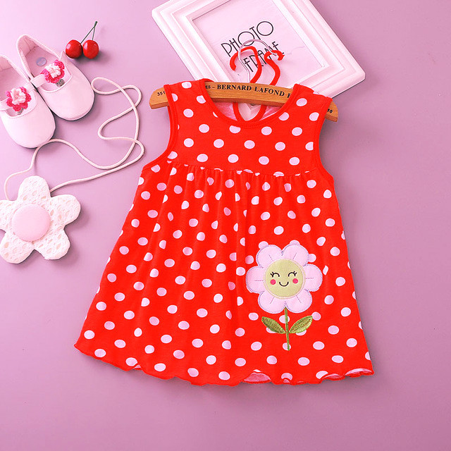 e30d96e2b8af2 2018 Summer New Baby Infant Wear Cotton Sleeveless printed back dress Girls  Vest dress girl clothes and dresses ~ Best Seller June 2019