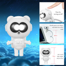 night lamp Spaceman Astronaut Panda Shape LED Mini Night Light Keyboard Lamp USB Charging Port Flexible Bendable Hose Portable(China)