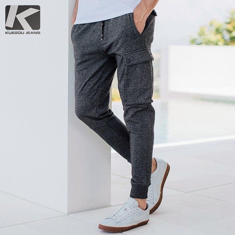 Autumn Men Casual Track Pants Cotton Gray Color Pocket For Man Fashion Joggers Sweatpants New Male Wear Long Trousers 759