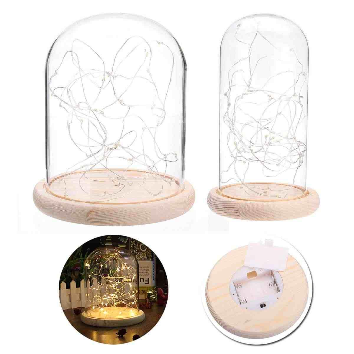 Светодиодный цветочный стеклянный глобус коробка бутылки ночной свет прикроватная лампа держатель Подарочный чехол база деревянные стеклянные вазы светодиодный абажур домашний декор