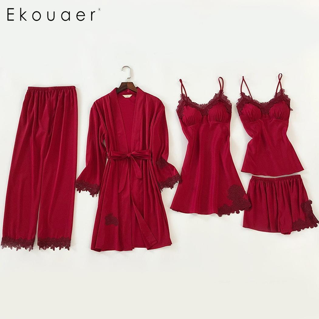 Ekouaer 5pcs Sleepwear Suit Women Sexy Silk Satin   Pajama     Set   Female Lace Pyjama   Set   Summer Spring Home Wear Nightwear Home Cloth