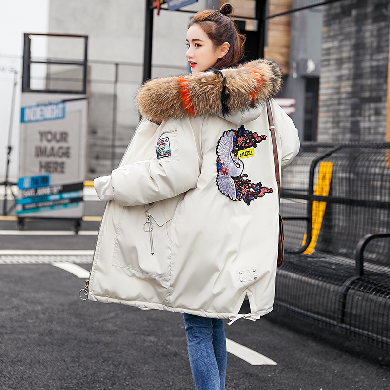 Winter Coat 2018 New Womens Winter Jackets Medium Length Thicken Slim Fashion Printing Hooded Big Fur Collar Female   Parkas   S282
