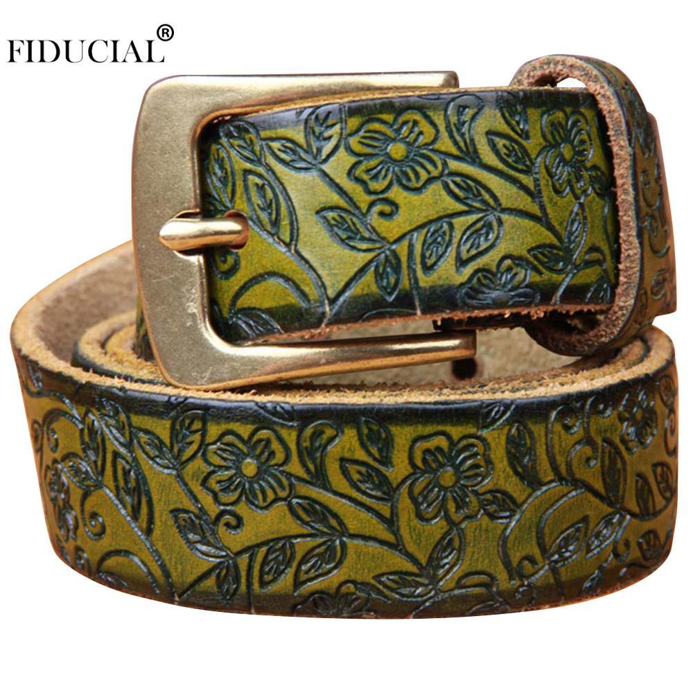 FIDUCIAL marque nom femmes en cuir de vachette femelle broches boucles en métal fantaisie Vintage ceintures motif Floral conception 2.8 cm dame FCO055