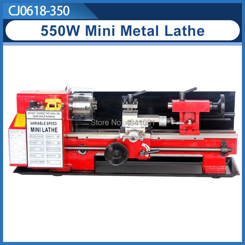 550W Mini high-Präzision DIY Shop Tisch Metall Drehmaschine Werkzeug Maschine Variabler Geschwindigkeit Fräsen 80mm spannfutter 350mm arbeits länge