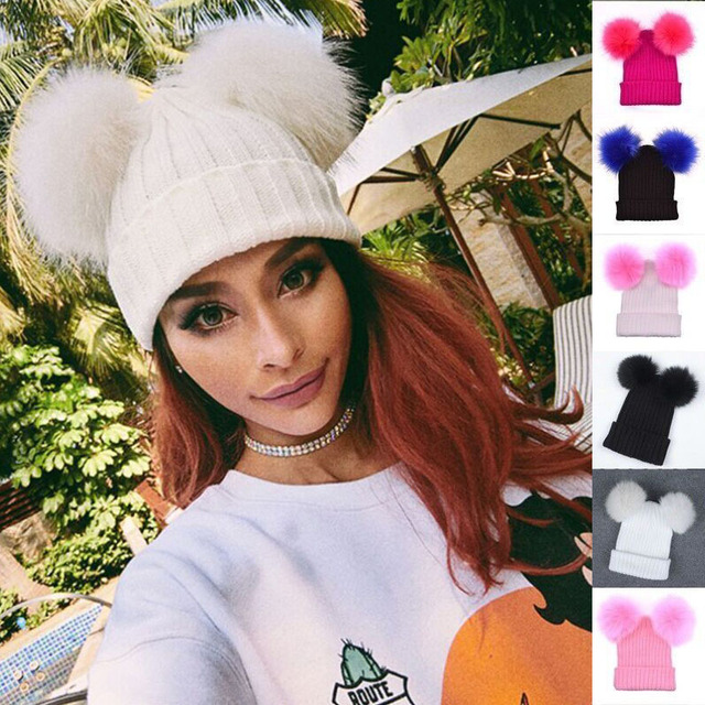 6fe362ae0b4 Winter Women s Knitted Warm Chunky Knit With Double Fur Pom Pom Cute Beanie  Hats Ladies Fashion Skullies Beanies Caps
