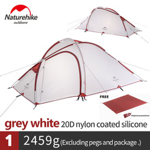 Naturehike Hiby 3 Persoon 4 Seizoen Familie Tent 20D Siliconen Stof Waterdichte Dubbele Laag Camping Tent Een Kamer Een hall