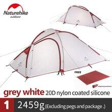Naturehike Hiby 3 kişi 4 sezon aile çadırı 20D silikon kumaş su geçirmez çift katmanlı kamp çadırı bir oda bir salon