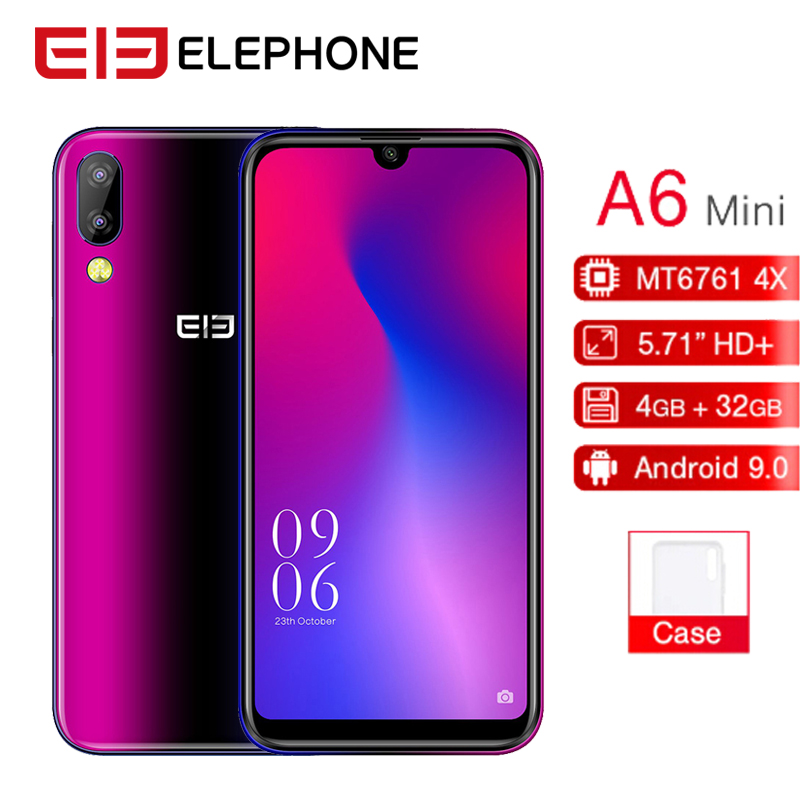"Elephone A6 Mini Mobile Phone Android 9.0 5.7"" Waterdrop 4GB RAM 32GB/64GB ROM MT6761 Quad Core 16MP Face ID 4G LTE Smartphone"