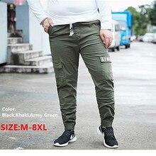 Biegaczy męskie spodnie dresowe spodnie Pantalones spodnie męskie Cargo Erkek Pantolon Homme bawełniane kombinezony 5XL 6XL 8XL czarne spodnie robocze