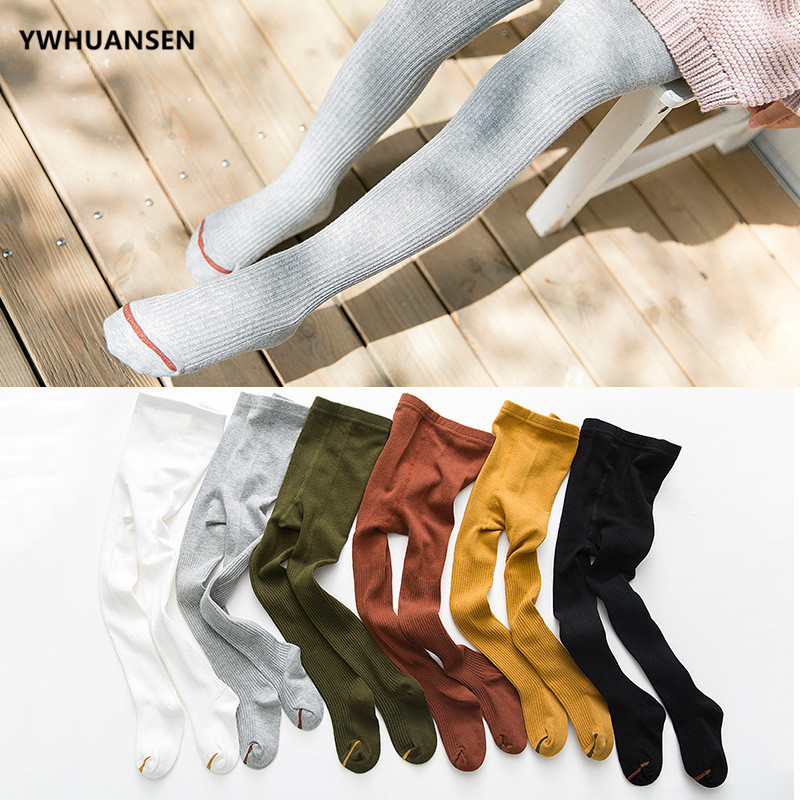 YWHUANSEN 6 Colors Classical Striped Children's Tights For Girls Spring Autumn Winter Kids Tights Cotton Baby Stocking Pantyhose