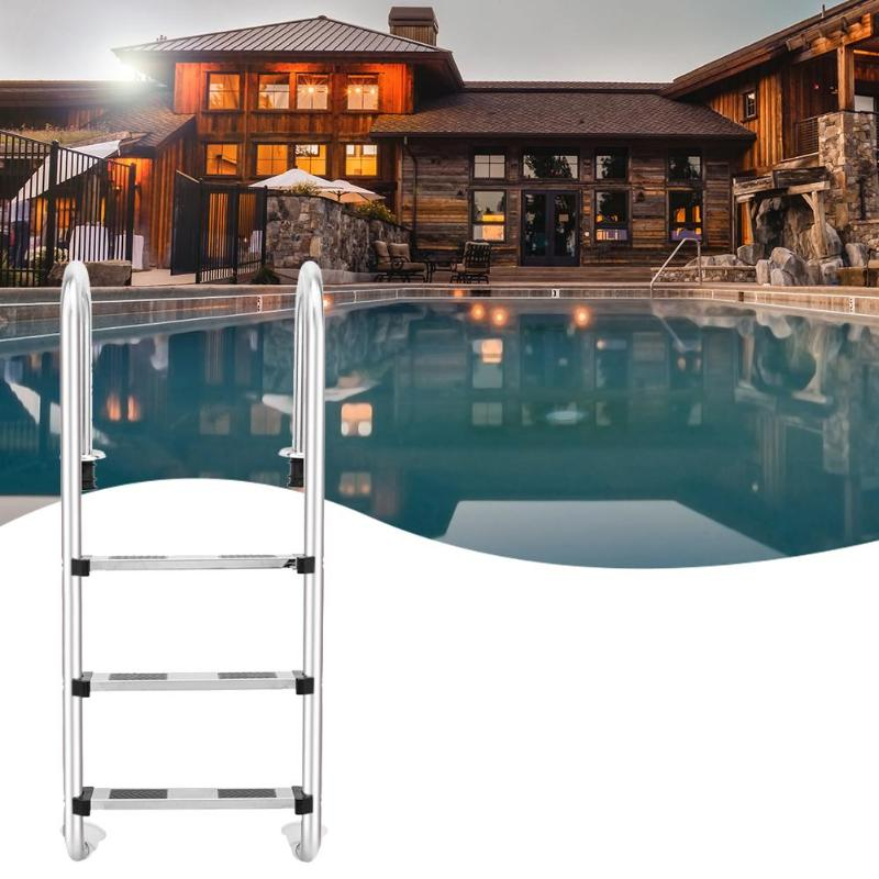 132/157cm Height 3/4 Step Stainless Steel Ladder In Ground Swimming Pool Equipment Anti Skid Ladder Suit