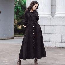 Черное винтажное вельветовое платье Весна Осень женское с длинными рукавами длинное вельветовое платье ретро длинная рубашка платья с карманами