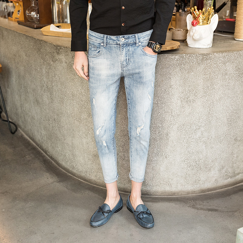 Long Pencil Pants Hole Ripped Mens Fashion 2019 Spring Jeans Slim Thin Skinny Jeans For Men Hiphop Trousers Clothes Jeans Hombre