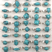 Mixed Size Natural Turquoise Rings For Women Factory Price 50pcs Wholesale